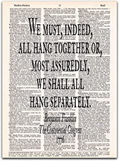 We Must All Hang Together, Benjamin Franklin Quote, Dictionary Page Art Print, 8x11 inches, Unframed