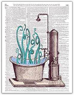 Octopus in a Bathtub, Dictionary Page Wall Art Photo Print, 8x10, Unframed