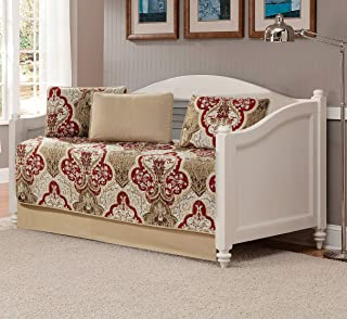 Better Home Style 5 Piece Daybed Luxury Lush Soft Taupe Burgundy Motif Ornamental Floral Printed Design Coverlet Bedspread Bed Cover Quilt Set # 3562 (Taupe, Daybed)