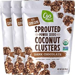 Go Raw Dark Chocolate Sprouted Seed Coconut Clusters, 3oz bags (pack of 3) — Organic | Grain Free | Nut Free | Vegan | Sup...