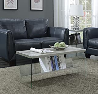 Convenience Concepts SoHo Coffee Table, Faux Birch / Glass