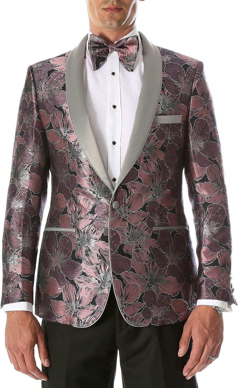 Ferrecci Men's Hugo Floral Modern Fit Shawl Collar Tuxedo Blazer with Satin Shawl Lapel and Matching Bowtie