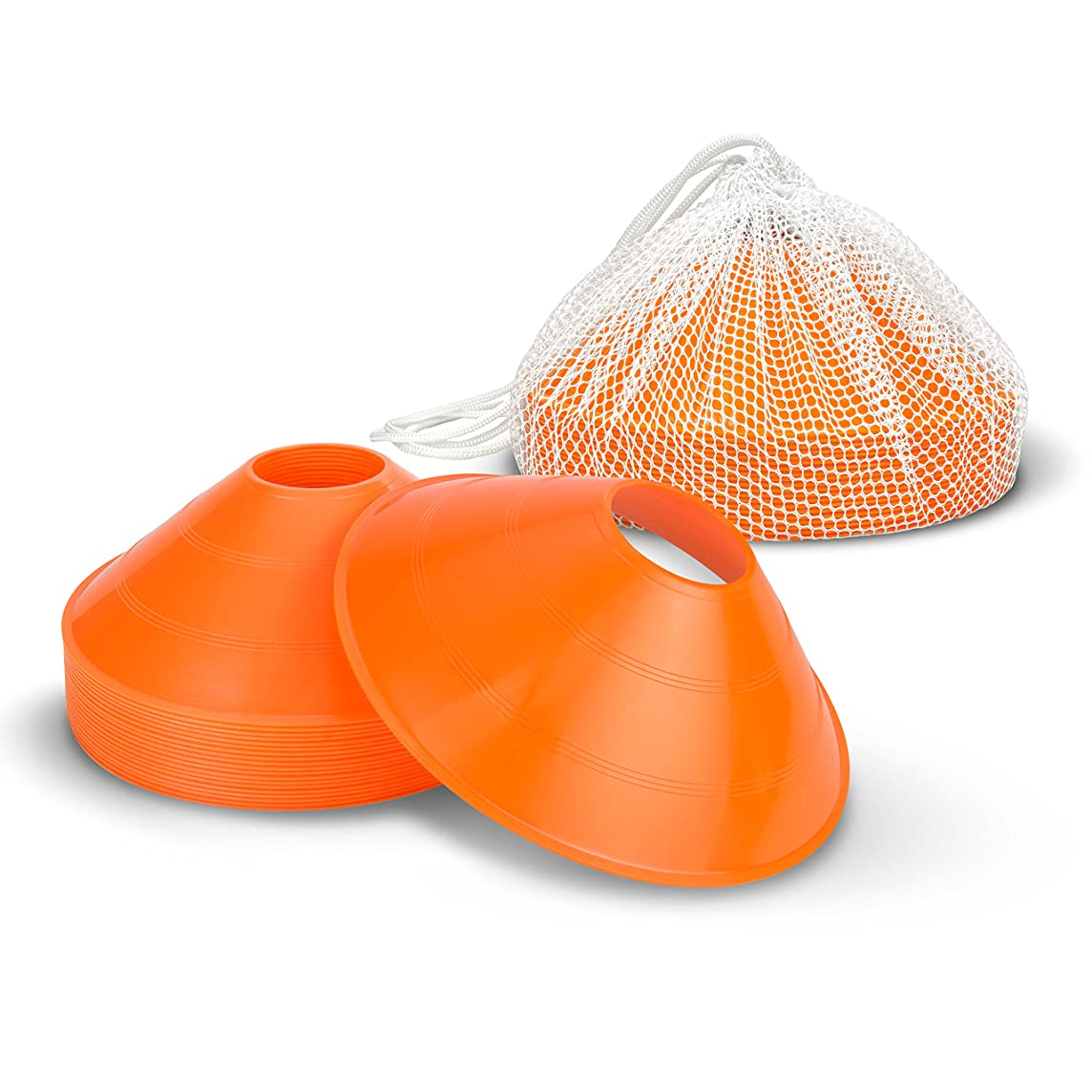 GoSports Agility Training Sport Cone 20 Pack with Tote Bag - Low Profile Field Markers for Kids and Adults