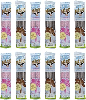 Milk Magic, Milk Flavoring Straws, Variety Pack Including Chocolate and Strawberry, 12 Six-Packs, 6 of Each Flavor