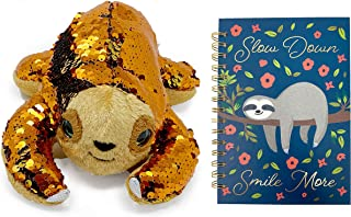 Sloth Plush Animal Toy Bundle with Sloth Journal Diary Spiral Notebook, Sequinimals Sloth Bundle OR Brown Sloth Bundle (Sequin Sloth Set)