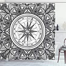 Nautical Decor Shower Curtain Set, Wind Rose Surrounded by Ornate Floral Arrangement Pattern Destination Graphic, Bathroom...