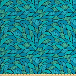 Ambesonne Teal Fabric by The Yard, Abstract Wave Design with Different Colors Ocean Themed Marine Life Pattern Print, Decorative Fabric for Upholstery and Home Accents, 1 Yard, Mint Green