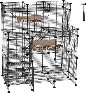 SONGMICS Multi-Tier Cat Playpen,Cat Cage, Cat Condo, Large Customizable 3-Door Wire Pet Home, with Hammocks, Balcony, Ramps, Doors and Locks, Black ULPI04H