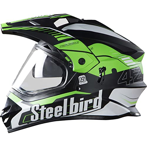 Steelbird Mens ISI Certified Off Road Racing Helmet - SB-42 Airborne Mat Finish with Plain Visor with P Cap (Large 600MM, Mat Black with Green)