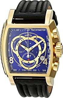 Men's 20243 S1 Rally 18k blue dial Ion-Plated Watch with Leather Band