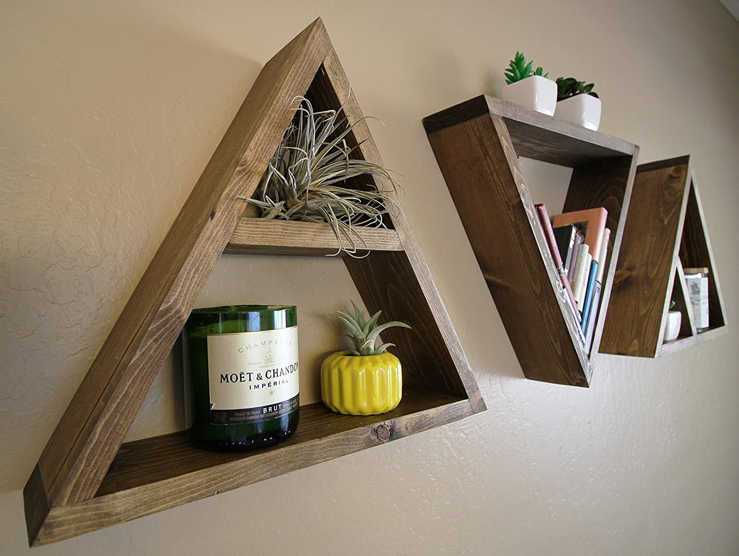 Wood Triangle Storage Shelf - Max 77% OFF CUSTOM COLOR or Set of 3 Single Selling and selling