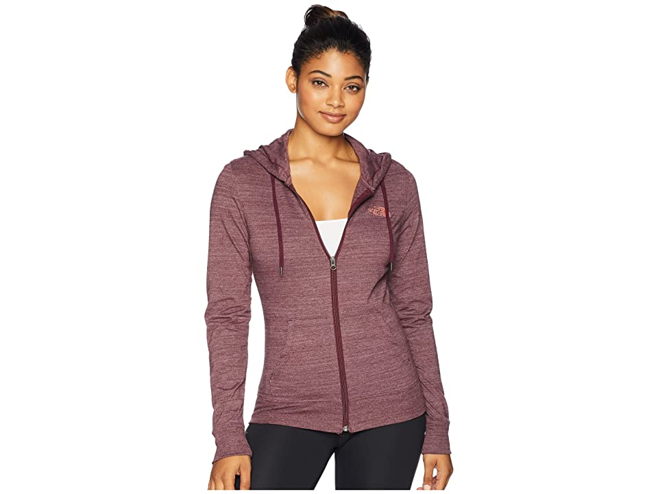 The North Face Lightweight Tri-Blend Full Zip Hoodie (Fig Heather/Faded Rose) Women
