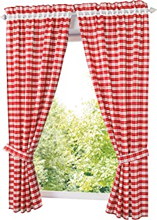 Sobre Rideau querbehang disques rideau vichy carreau beige-blanc hauteur 45 cm