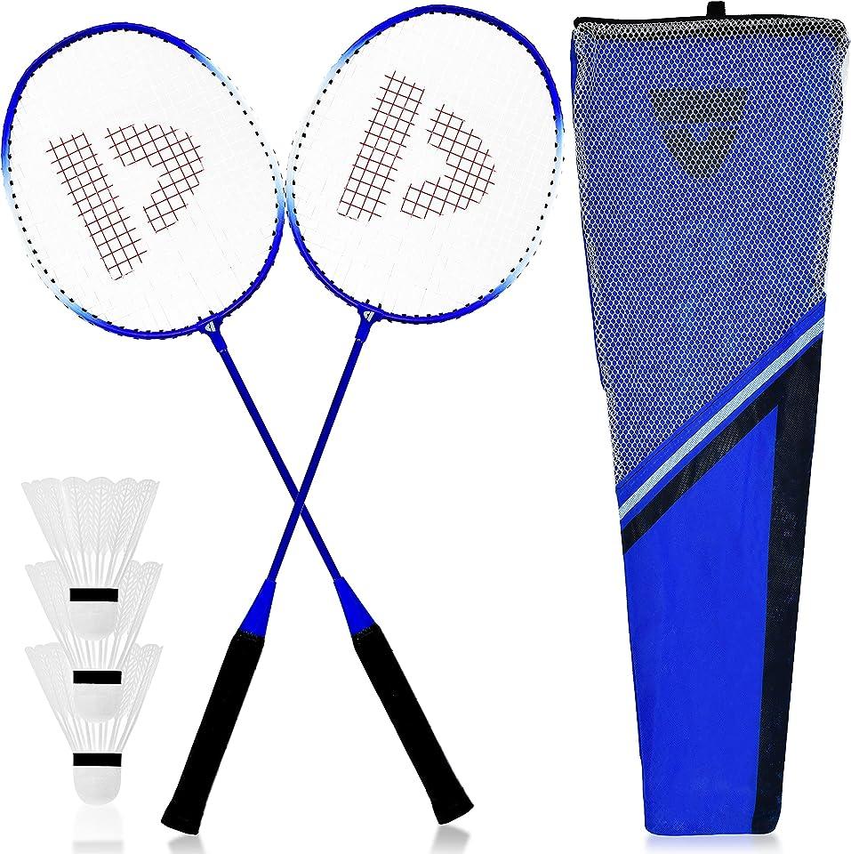 L + H WORLD XXL Federball & Badminton Set | Federballschläger gemischte Farben inkl. Federbälle & Schläger-Tasche im Set | Federballspiel für Erwachsene & Kinder ideal für Freizeit & Outdoor Spiele