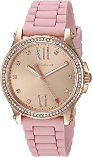 Juicy Couture Women's 'Hollywood' Quartz Gold-Tone and Rubber Casual Watch, Color:Pink (Model: 1901617)