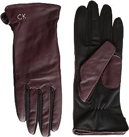 Calvin Klein - Leather Gloves w/ Knit Tonal Palm