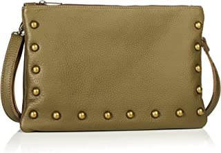 product image for Olive Green Studded Italian Leather Medium Sized Crossbody/Clutch