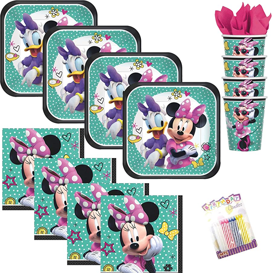 Lobyn Value Pack Minnie Mouse Happy Helpers Party Plates Napkins and Cups Serves 16 with Birthday Candles - Minnie Mouse Party Supplies (Bundle for 16)