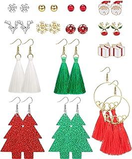 ORAZIO Xmas Earrings Christmas Tree Tassel Hook Drop Dangle Earrings CZ Ball Reindeer Gift Box Snowflake Santa Claus Chris...