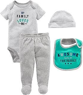 Simple Joys by Carter's Baby Boys' 4-Piece Bodysuit, Pant, Bib and Cap Set