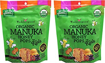 Wedderspoon Organic Manuka Honey Pops 3 Flavor Variety Pack of 2 (Contains 48 Lollipops)