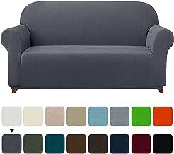 Subrtex 1-Piece Plaid Jacquard Stretch Couch Slipcovers, Sofa, Gray