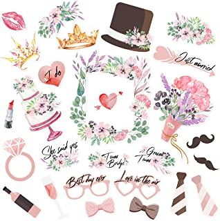 LALASTAR Wedding Bridal Shower Photo Booth Props, Bachelorette Photo Booth with Stick for Bridal Shower Accessories Wedding Favor Supplies,27 Count