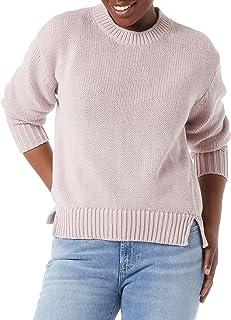 Daily Ritual suéter de Manga Larga 100% algodón de Ajuste Relajado, Grueso Jersey para Mujer