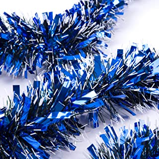 SANNO 3 Pcs 6.6 Ft Christmas Tinsel Garland Thick and Full Tinsel Sparkly Classic Party Ornaments Hanging Xmas Christmas Tree Ceiling Decorations, 4 inch Wide Each, Blue