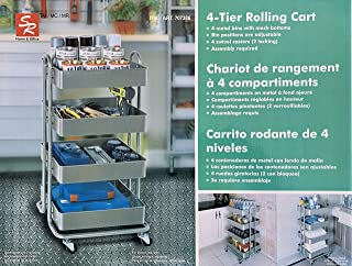 4-Tier Rolling Cart Metal Bins