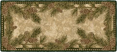 Brumlow MILLS Pine Cone Rustic Fall Winter Gingham Kitchen or Home Decor Area Rug,..