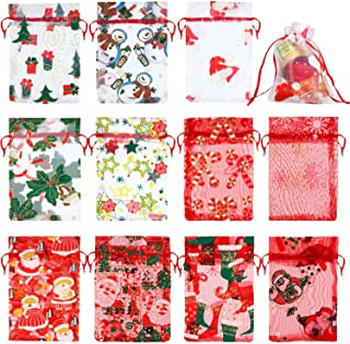 55 Pieces Christmas Organza Bags Red White Silver Snowflakes Organza Gift Bags in 11 Mix Pattern Jewelry Candy Drawstring Pouches for Xmas New Year Party Supplies, 4 x 6 Inch
