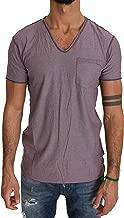 Dolce & Gabbana Purple Cotton Striped Pattern V-Neck T-Shirt