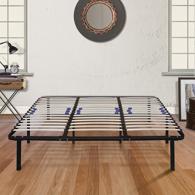 Boyd Sleep Finnish Platform Bed Frame Metal Mattress Foundation with Adjustable Hardwood Slats, Black, Full