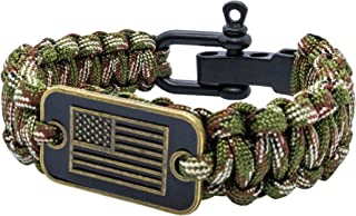 aarrows & Co USA Flag Paracord Survival Bracelet High Tensile Cobra Weave with Adjustable Bow Shackle