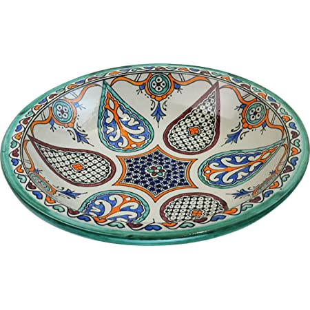 from Fez Di 40 H 10 cm Turquoise Azrou Hand painted Moroccan Ceramic Plate