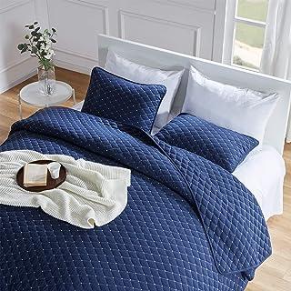 SLEEP ZONE 3-Piece Lightweight Reversible Quilt Set - King Size (2 Pillow Shams) - Soft Microfiber Coverlet Set for All Se...