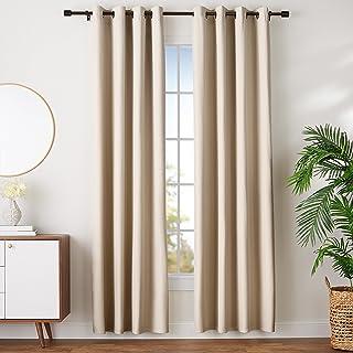 comprar comparacion AmazonBasics - Juego de cortinas que no dejan pasar la luz, con ojales, 140 x 245 cm, Beige