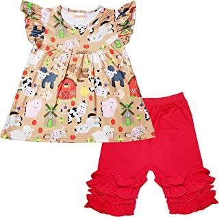 ABC Baby Toddler Little Girls Spring Summer Outfit Sets - Short Sleeves Top Capris Clothes