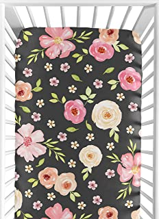 black floral crib sheet