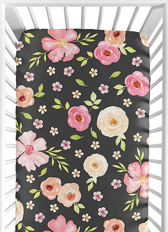 Sweet Jojo Designs Black And Blush Pink Baby Or Toddler Fitted Crib Sheet For Watercolor Floral Collection Rose Flower