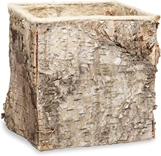 Darice Square Birch Bark Flower Pot Container, 5.75 x 5.5 inches Planter, Natural
