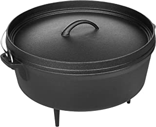 AmazonBasics Pre-Seasoned Cast Iron Camp Dutch Oven with Lid, 6-Quart
