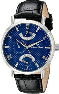 Lucien Piccard Men's LP-10340-03 Verona Stainless Steel Watch with Black Leather Band