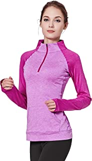 Women Yoga Compression Sweatshirts Zipper Long Sleeve Running Shirts