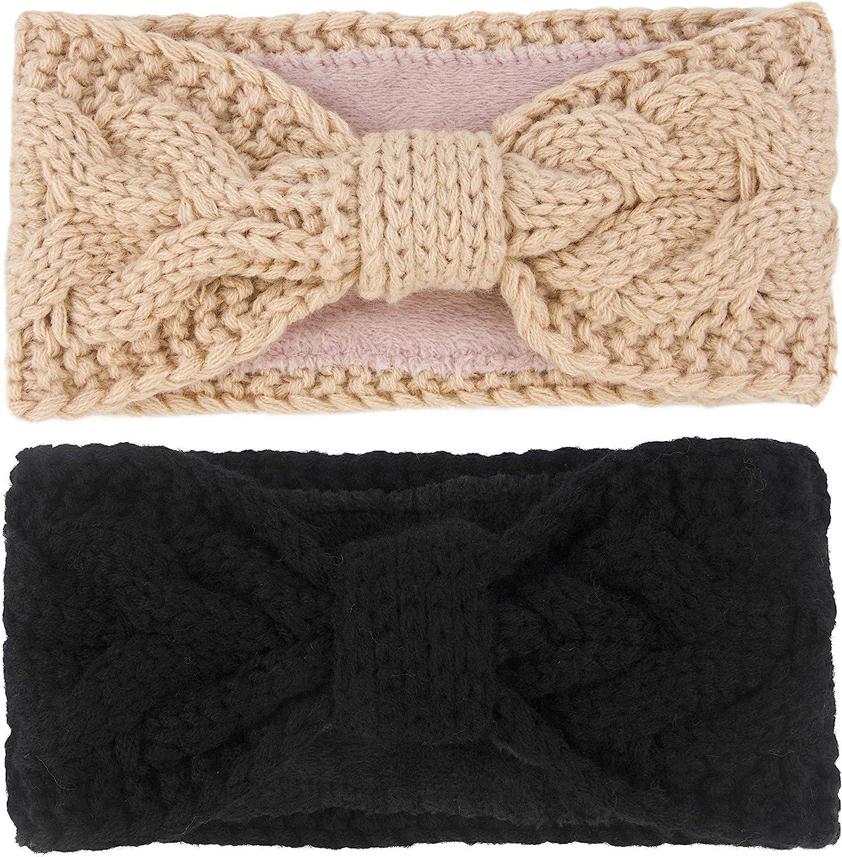 Muryobao Women Winter Warm Ear Warmer Headband Cable Knit Fuzzy Fleece Lined Head Wrap Stretchy Thick Headband 2 Pack