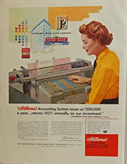 National Accounting System, scarce 50's print ad. full color illustration (the National Cash Register Company ) 1957 Fortune Magazine Art