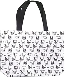 French bulldog Prints Pattern Canvas Tote Bag Perfect for A4 Magazine or Documents
