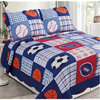 Golden Linens 3 pcs (1 Quilt, 2 Pillow Cases) Reversible Printed Kids Bedspread Sport American Football, Baseball and Basketball # Full (26)