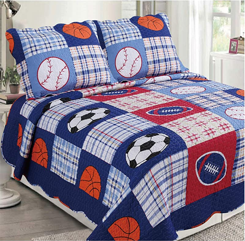 Golden Linens 3 Pcs 1 Quilt 2 Pillow Cases Reversible Printed Kids Bedspread Sport American Football Baseball And Basketball Full 26
